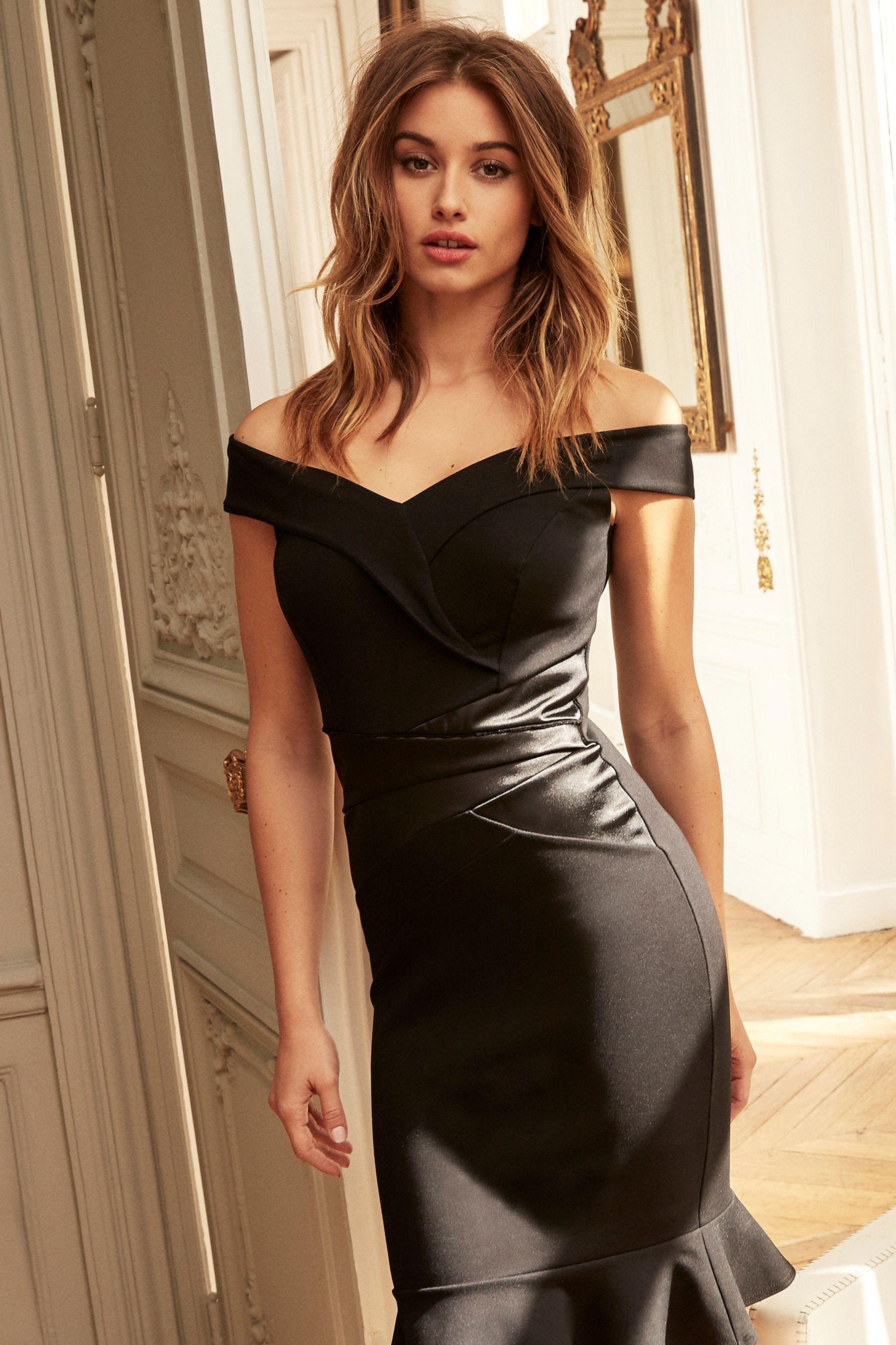 5d970c4deb6 Womens Lipsy Petite Satin Panel Bardot Bodycon Dress - Black ...