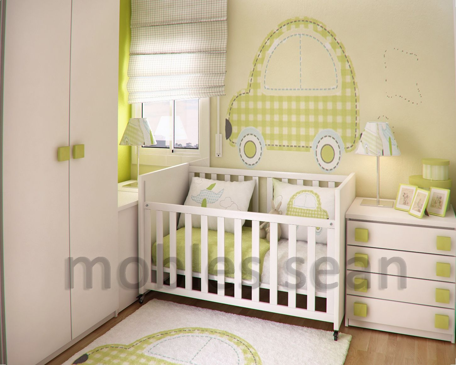 interior design for green baby nursery room image