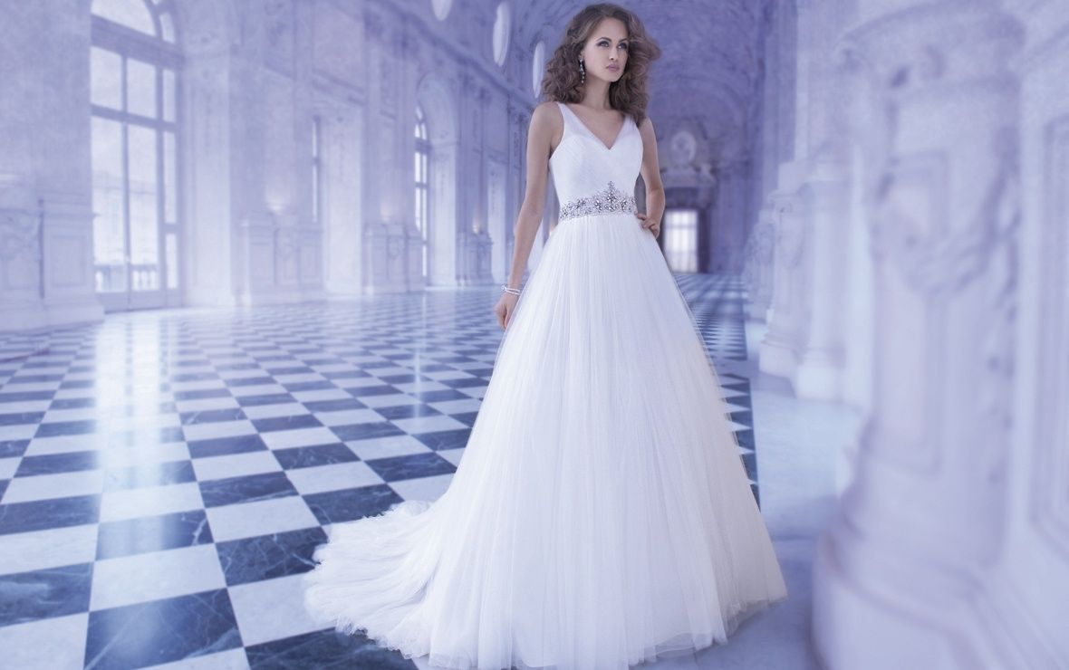 Simple, Beautiful, Strapped Tulle Ballgown. Demetrios