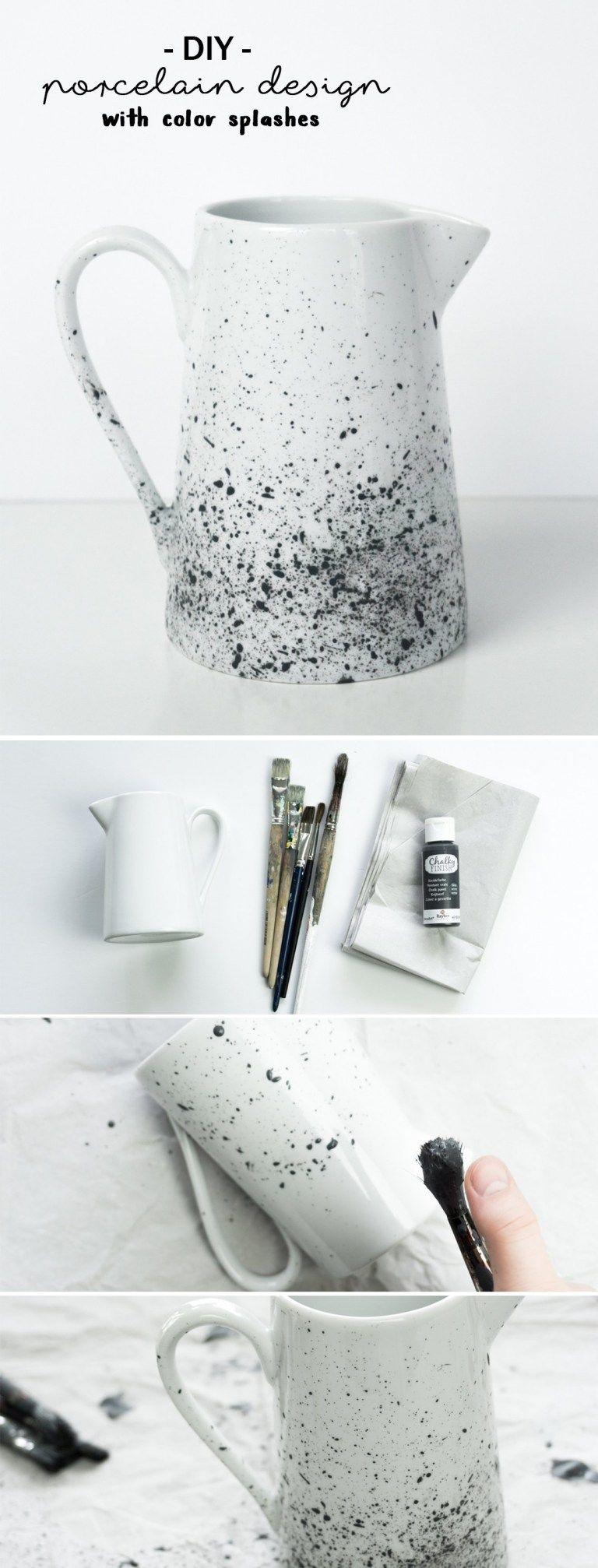 DIY Porzellan bemalen: Kanne mit Sprenkelmuster #ceramiccafe