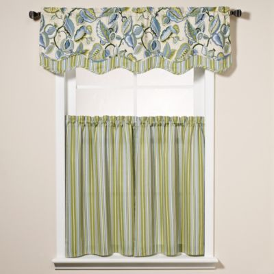 Fantasy Fleur Window Curtain Tier Pairs And Scalloped Valance    BedBathandBeyond.com