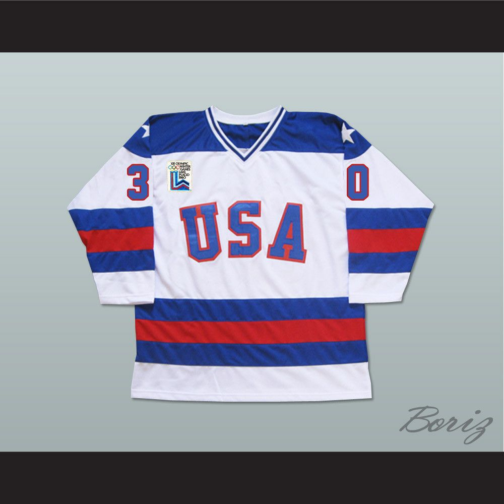 Usa Olympic 1980 Miracle On Ice White Jim Craig Hockey Jersey Custom Made Sports Jersey In 2020 Team Usa Hockey Usa Olympics Jersey
