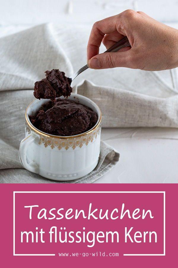 Tassenkuchen vegan mit flüssigem Schokoladekern #schokokuchen