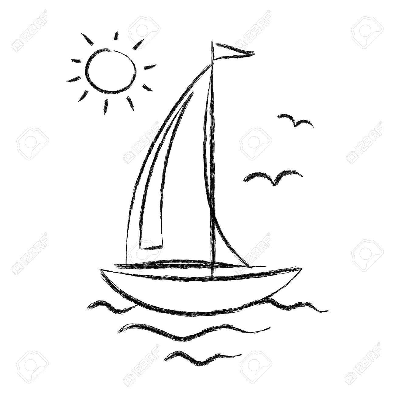 35 Awesome Sailing Boat Cartoon Images Sailboat Drawing Boat