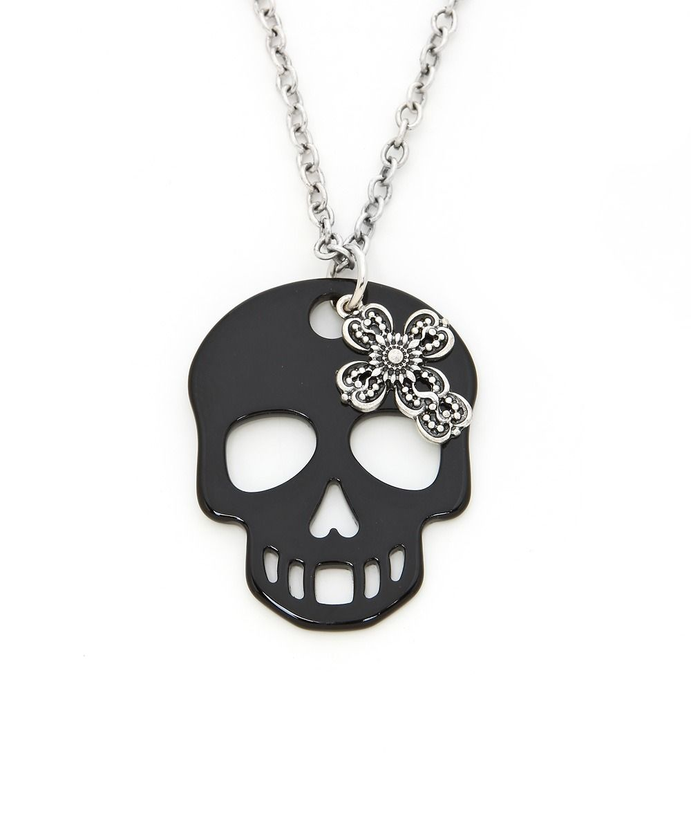 Long Skull & Cross Charm Necklace #shoplately
