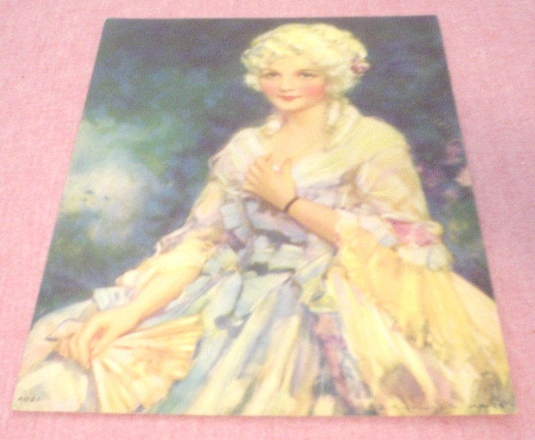 Vintage Victorian Blue Eyed Woman Watercolor Art Deco Glamour Girl ...