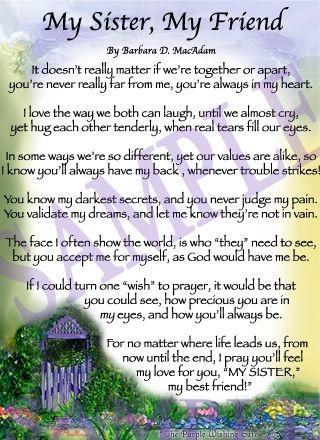 Sister Poems | Affordable Inspirational Poem for Sister ...