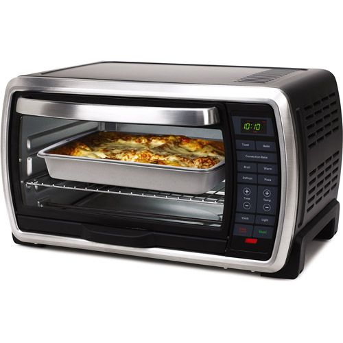 Oster Large Capacity Countertop 6 Slice Digital Convection Black Polished Stainless Steel Toaster Oven Walmart Com