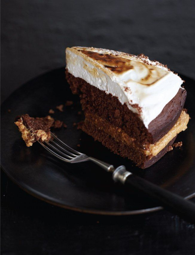 Chocolate Cake with Peanut Butter Filling & Marshmallow topping (Sweet Paul Magazine - Fall 2012 - Page 60-61)