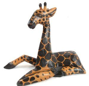 Amazoncom Hand Carved Wooden African Baby Giraffe Statue Laying