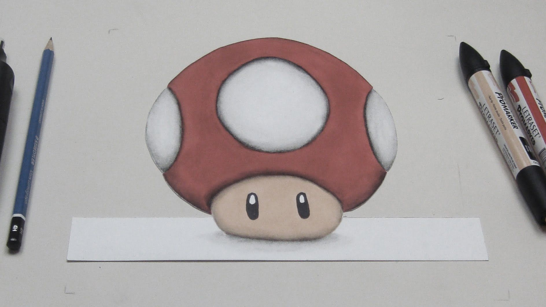My Toad from Super Mario Bros, 3D drawing, Anamorphic