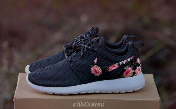 Floral Roshe Run Custom Black White Roses