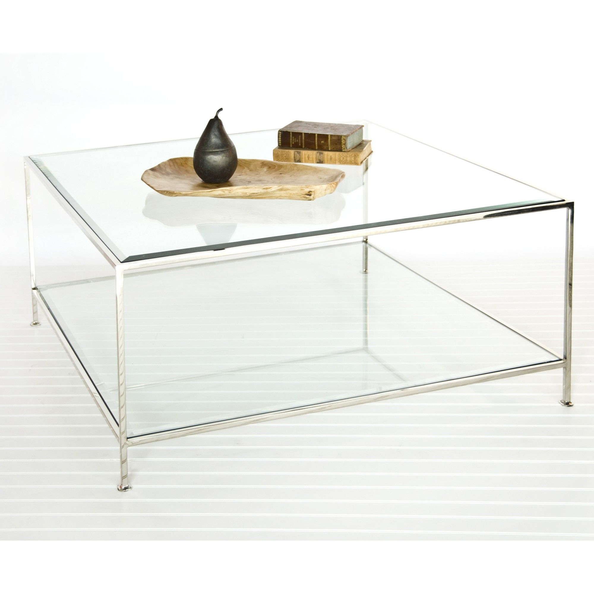 Square Coffee Table with Beveled Glass in Sleek Nickel by Worlds