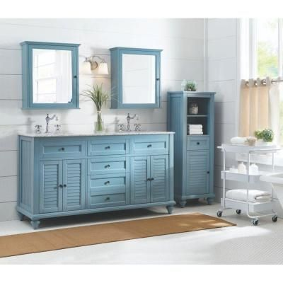 Home decorators collection hamilton shutter 61 in vanity in sea glass with granite vanity top