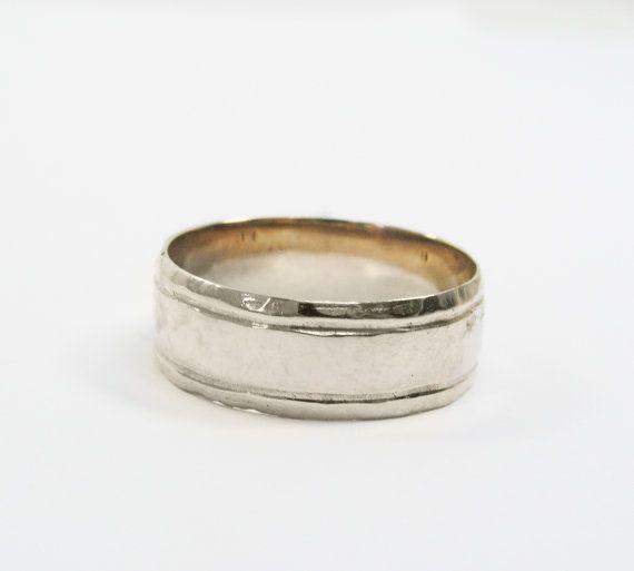14K White wedding ring. Men wedding band. Unisex wedding by MayaOr, $420.00