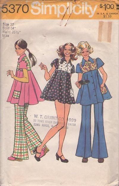 30ff404cdeb MOMSPatterns Vintage Sewing Patterns - Simplicity 5370 Vintage 70's Sewing  Pattern SUPER DUPER CUTE Hippie Boho Flower Child Lolita Babydoll Micro Mini  ...