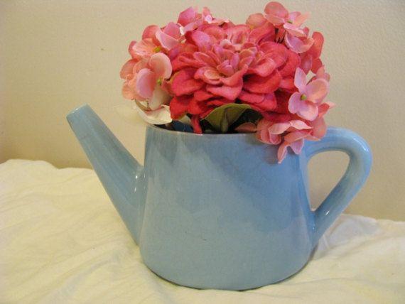 Vintage Powder Blue Ceramic Watering Can by ScrubJayTreasures