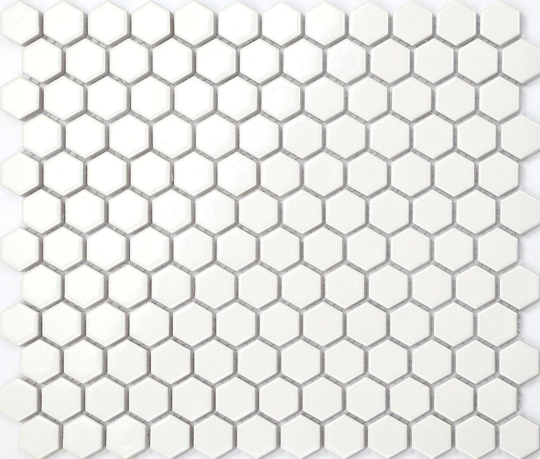 Hexagon Struktur Keramik Mosaik Fliesen Matte In Weiß Mt0089