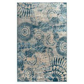 Loomed rug with an abstract medallion motif.   Product: RugConstruction Material: PolypropyleneColor: Blue and creamFeatures: Power-loomedNote: Please be aware that actual colors may vary from those shown on your screen. Accent rugs may also not show the entire pattern that the corresponding area rugs have.Cleaning and Care: Vacuum and spot clean as needed.  Dry foam and absorbent pad is the preferred method.  Do not use a beater bar.