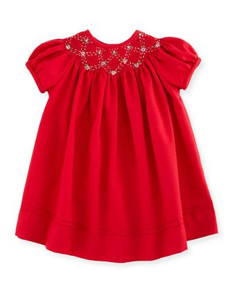 Smocked Twill Bishop Dress Red Size 3 24 Months By Luli Me At