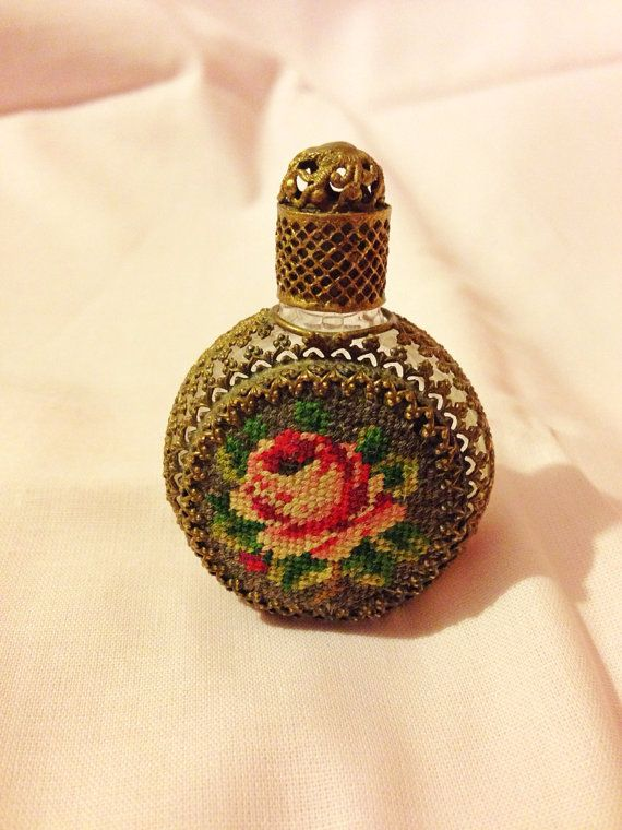 Vintage Austrian Embroidery Needlepoint Perfume Bottle