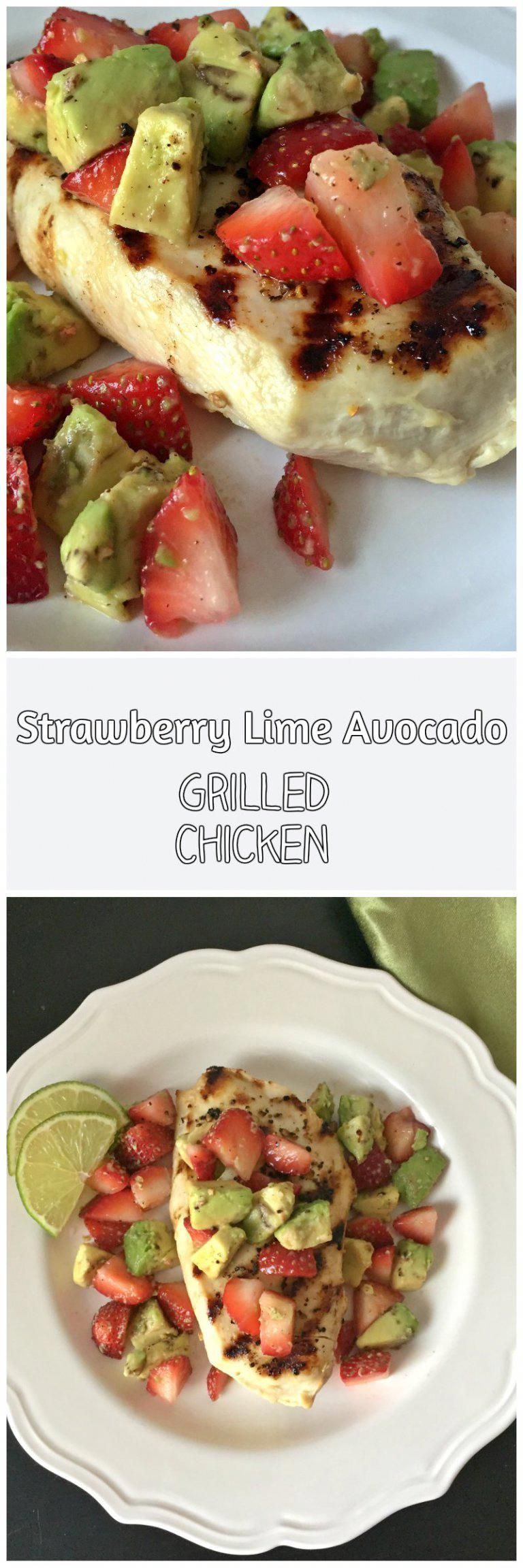 Strawberry Lime Avocado Grilled Chicken 2 Chicken Breast 4oz Each