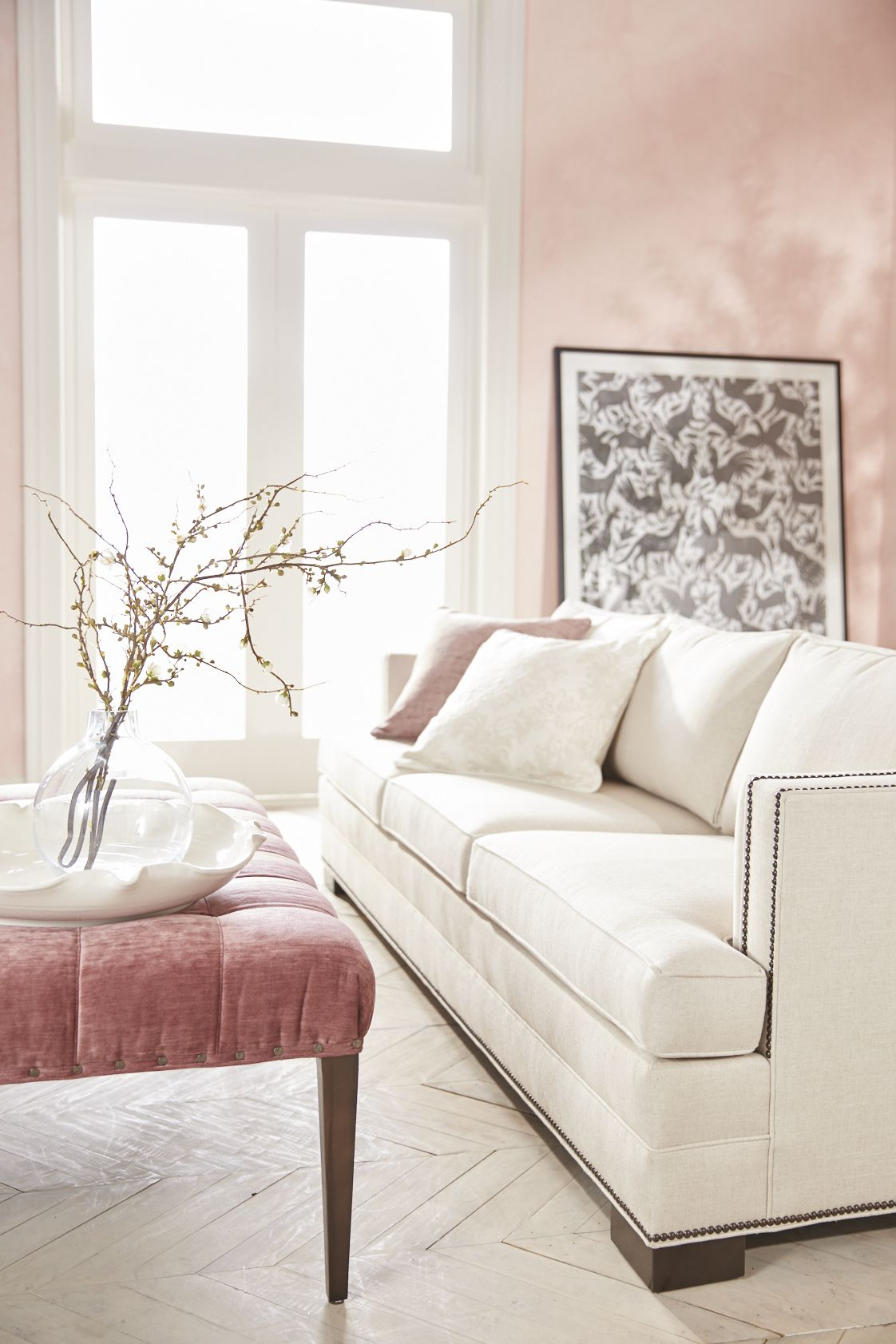 Pink White Cream Neutral Living Room | Great Room | Sofa | Couch ...