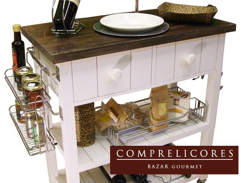 Mesa Auxiliar Isla De Cocina Con Barral Cromado Pintada - $ 1.999,00 ...