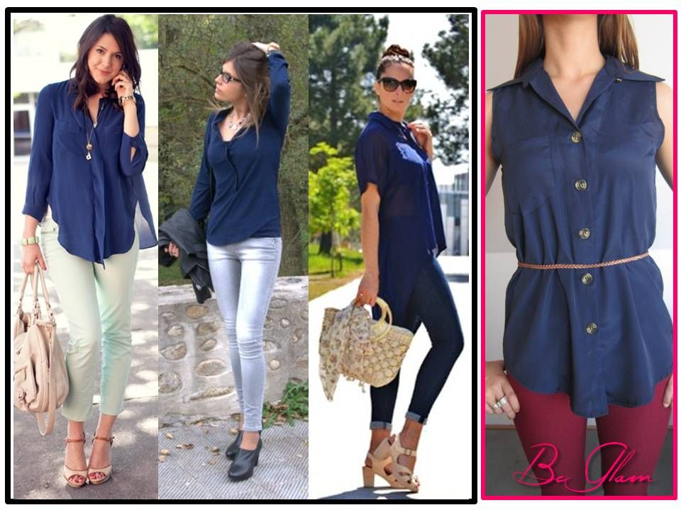 Tres outfits de cómo puedes usar esta blusa azul marino. A la venta sólo en
