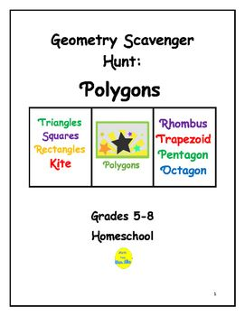 This project requires students to locate 40 examples of polygons, from ads, designs on holiday cards, designs on cereal boxes, fabric patterns, traffic signs, etc.  Students work in small groups or independently.  Once items are located, students create picture book with title on each page, example, and a sentence.