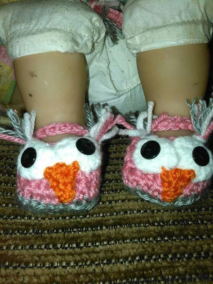Pink owl  crochete slippers