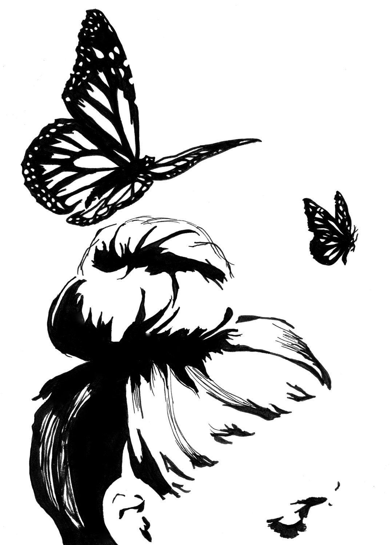 Signed, Art Print Black and white wall art decor Feminine fashion illustration original pen and ink drawing ink illustration butterfly art . door InkWithGrace op Etsy https://www.etsy.com/nl/listing/191696499/signed-art-print-black-and-white-wall