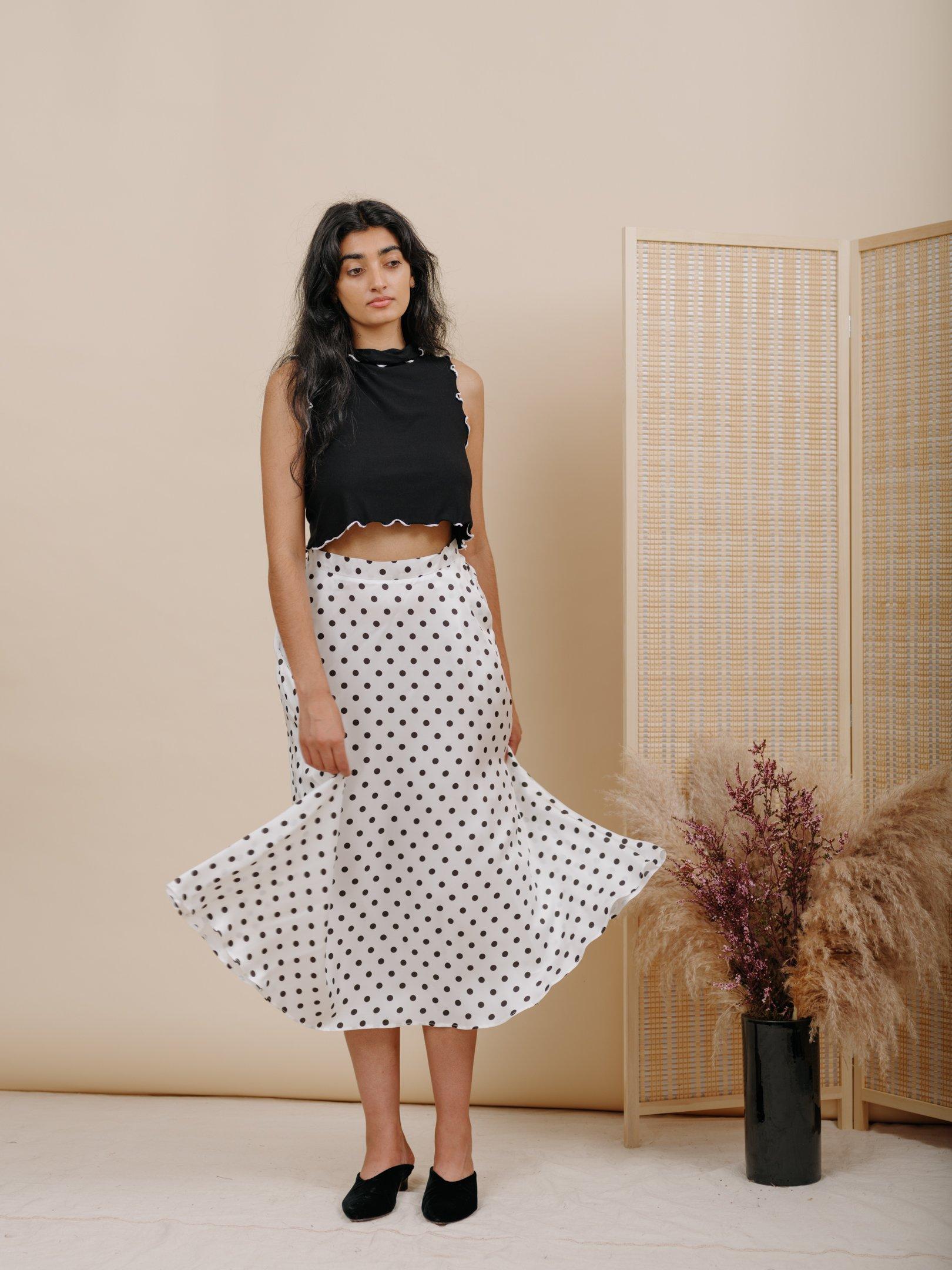a1c6c623c29a Shadow Skirt in White Polka Dot Silk in 2018