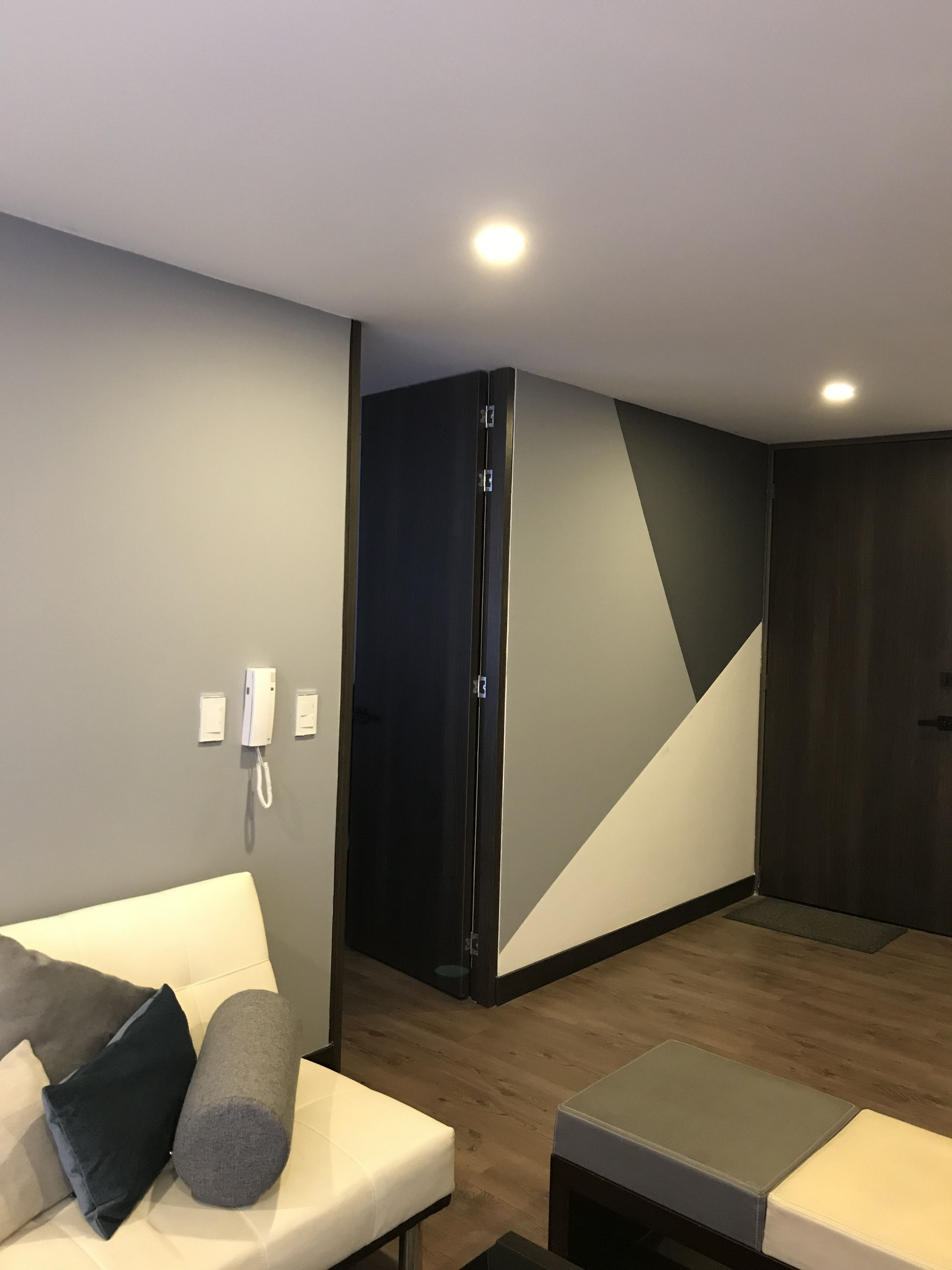 The Gray Scale Color Pallet In This Room Is Very Harmonious As Are The Harsh Angles And Sharp Edges Bedroom Wall Designs Bedroom Wall Paint Wall Paint Designs