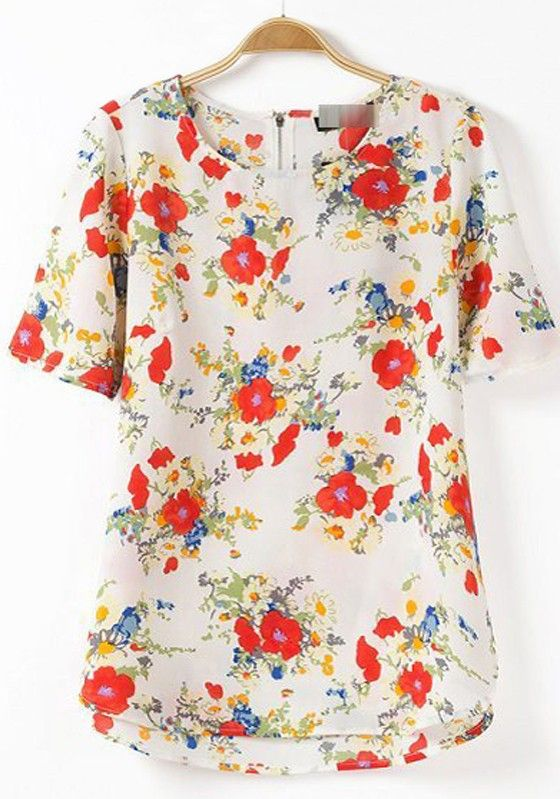 bf370dc007374 Multicolor Floral Print Zipper Short Sleeve Blouse