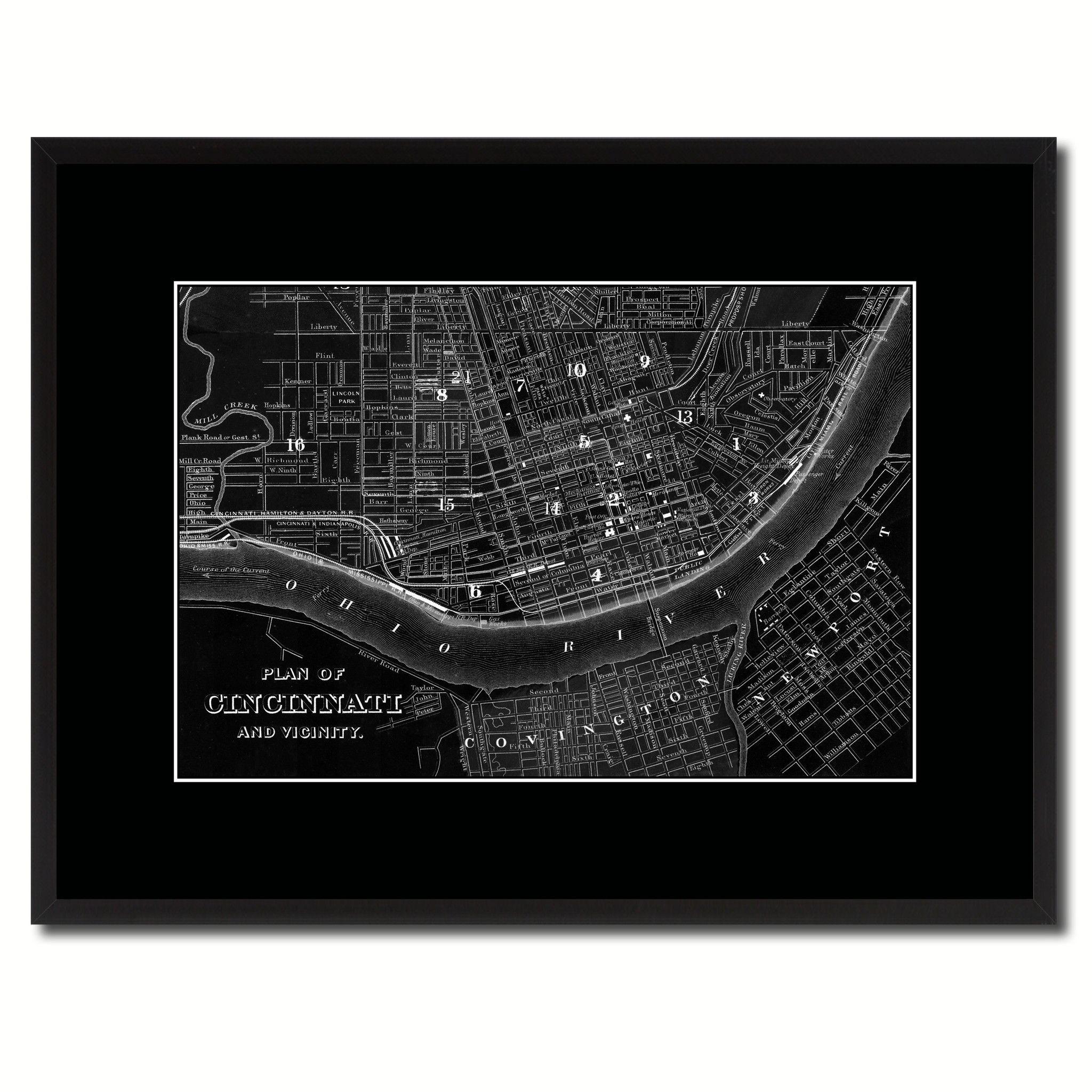 Cincinnati Vintage Monochrome Map Canvas Print, Gifts Picture Frames Home  Decor Wall Art