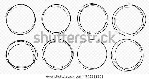 Hand Drawn Circle Line Sketch Set Stock Vector Royalty Free 745281298