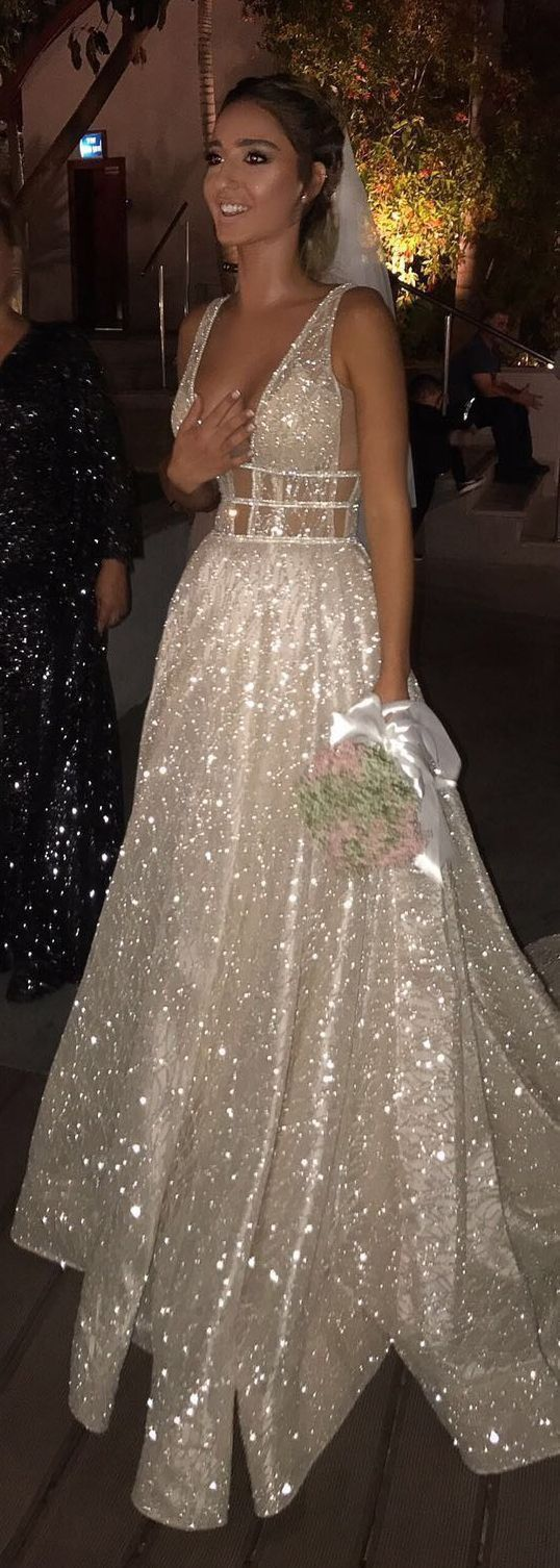 Aline deep vneck court train backless silver prom dress with