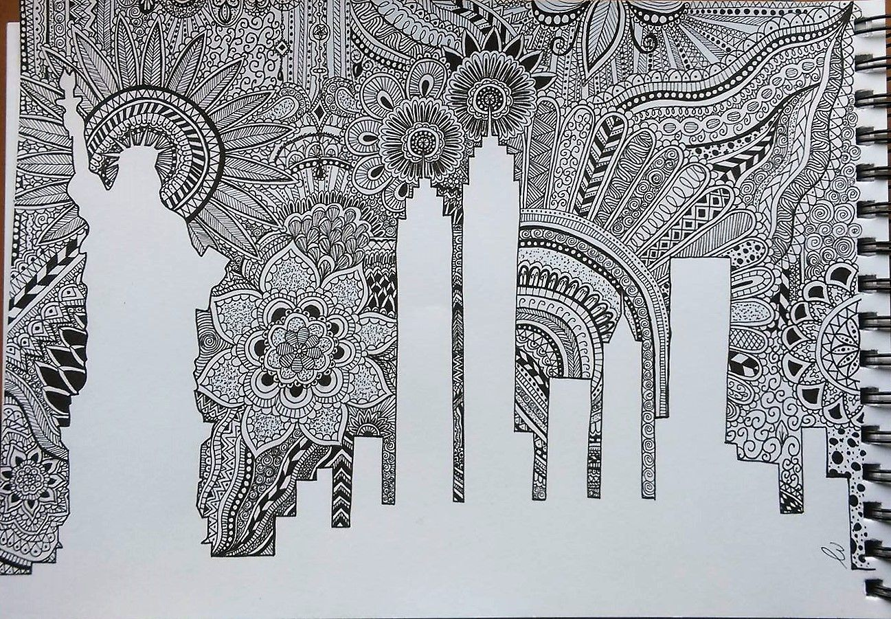 Zentangle New York New York City With A Pretty Zentangle Sky