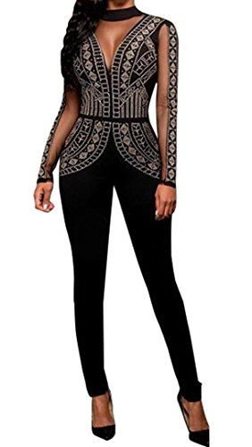 419f1fe1171 Jiujiuyi Women s Rhinestone Embellished Mesh Clubwear Jumpsuit Romper Plus  Size