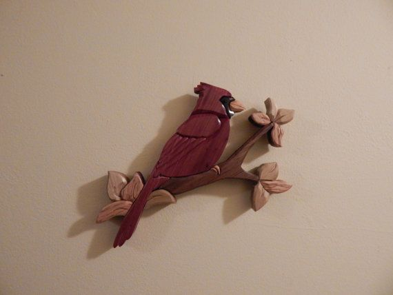 Cardinal Wood Intarsia Wall hanging Handcrafted by FROGIntarsia