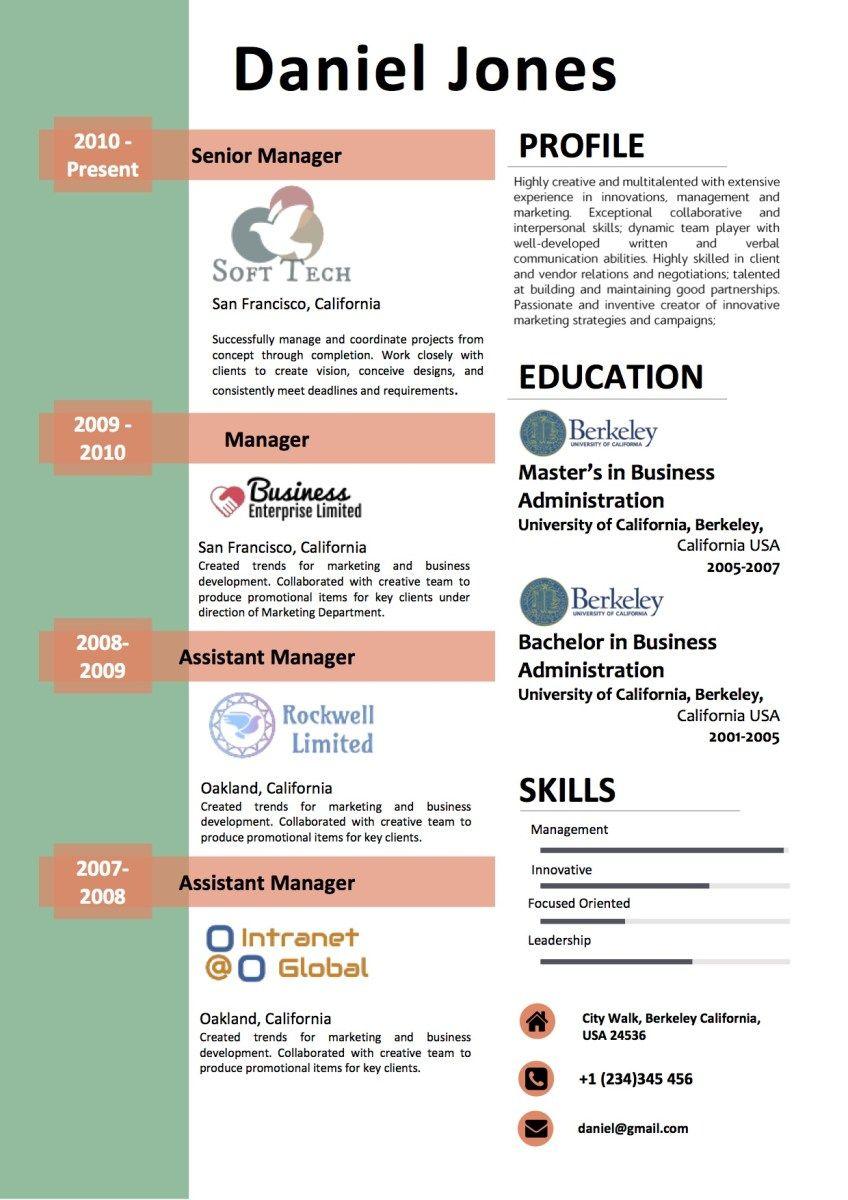 Experience highlight professional modern resume modern