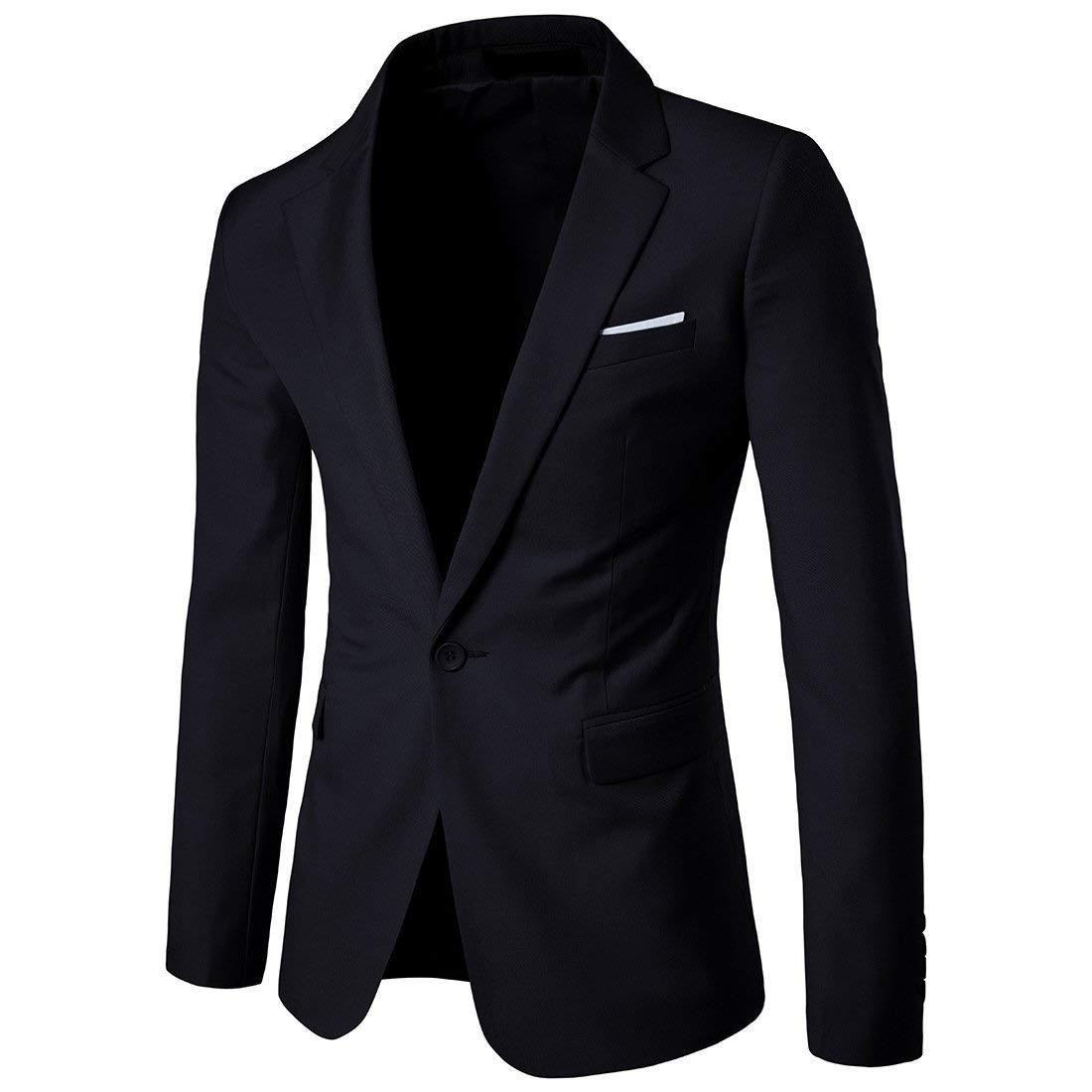 c249f870a99 WULFUL Men s Slim Fit Suit One Button Suit Coat Casual Business Lapel Blazers  Jacket