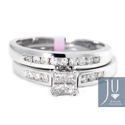 Oro Blanco De Corte Princesa Diamante Boda nupcial Banda anillo de compromiso conjunto 0,50 ct