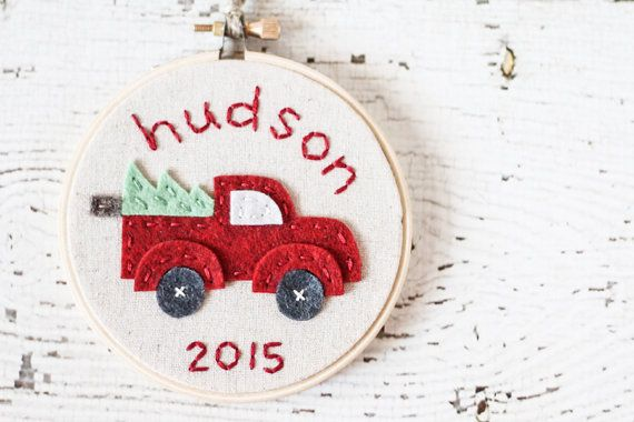 Christmas Hoop Art / Tree Ornament - Felt and Embroidery - Red pick-up truck with Christmas tree - Personalized with Name