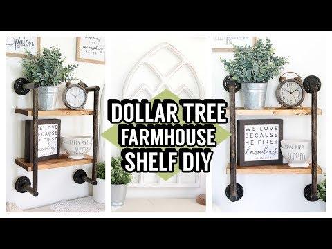 6 Dollar Tree Shelf Diy Farmhouse Shelves Youtube