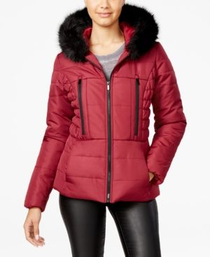 c2c910c656c Celebrity Pink Juniors  Faux-Fur-Trim Hooded Puffer Coat - Red L ...