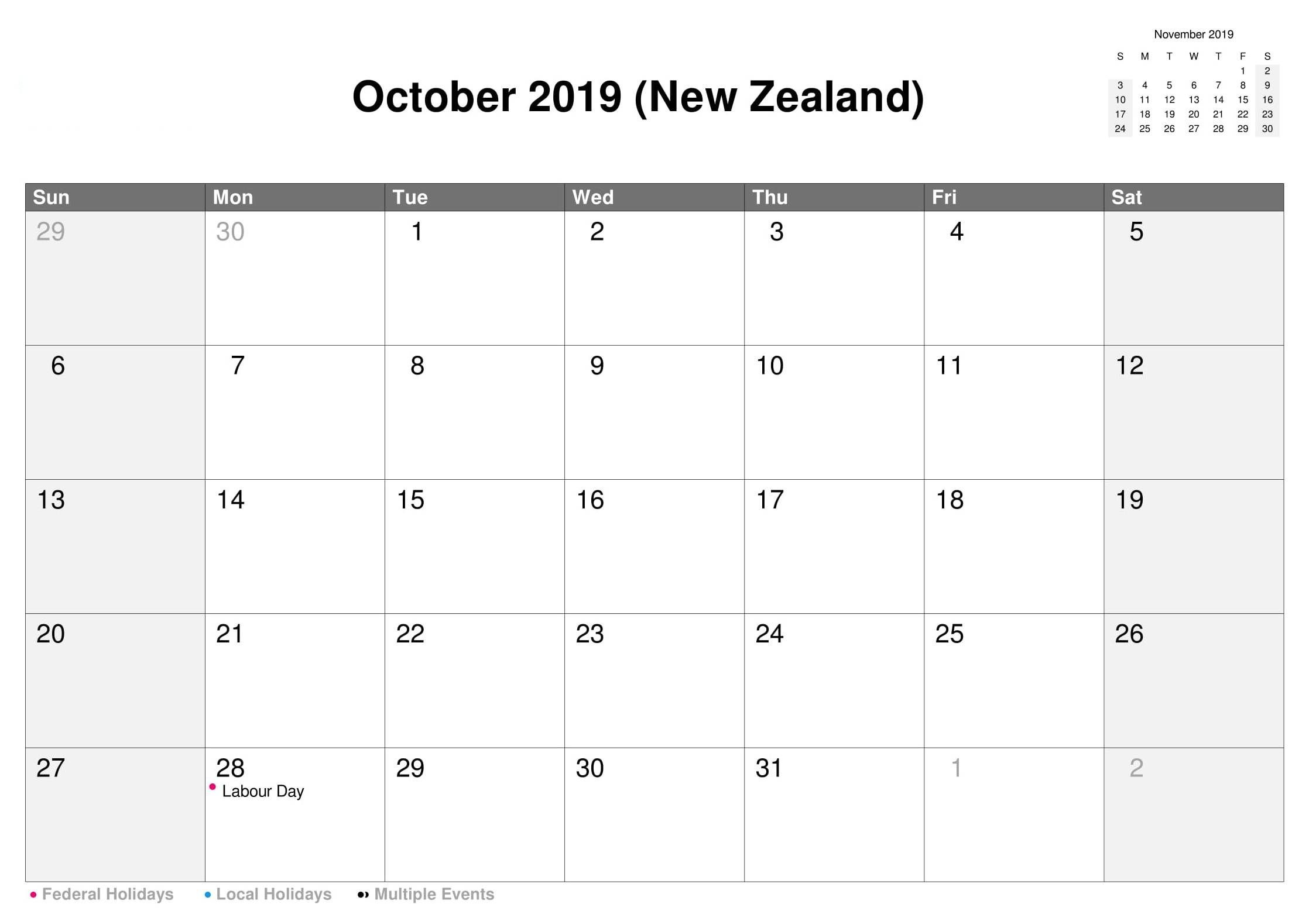 October 2019 Calendar Nz With Holidays 2019 Calendar Calendar