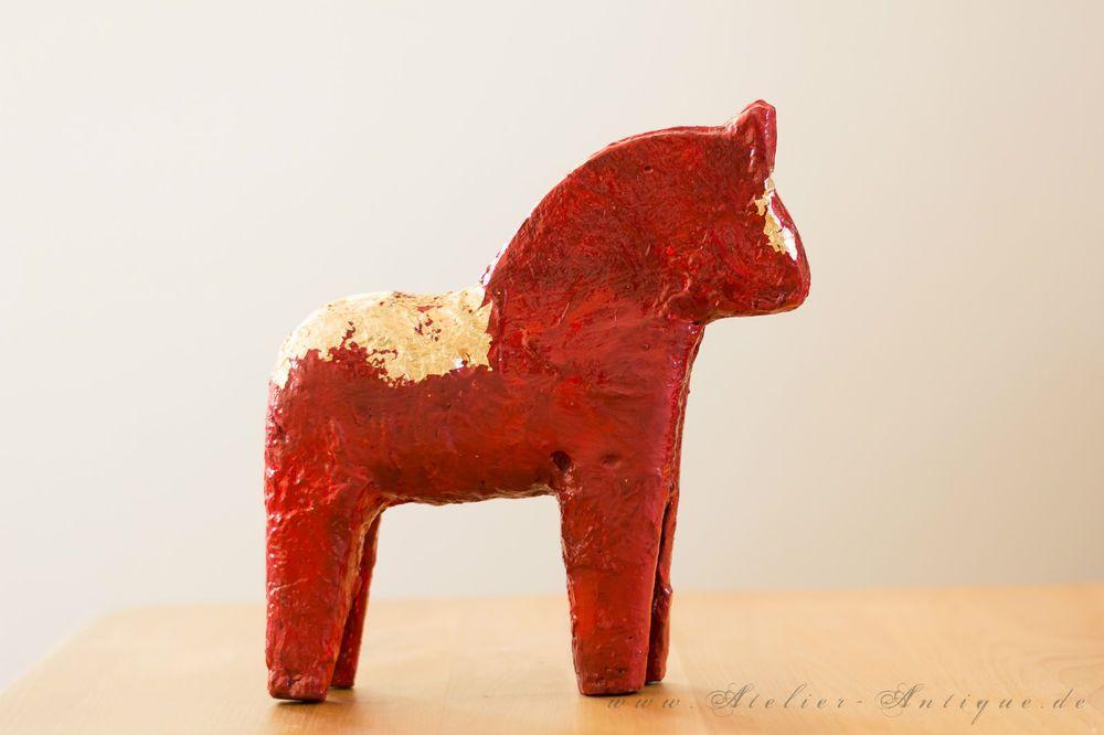 Dalarna Pferd pferde figur dala pferd rot gold skulptur schweden pony landhaus