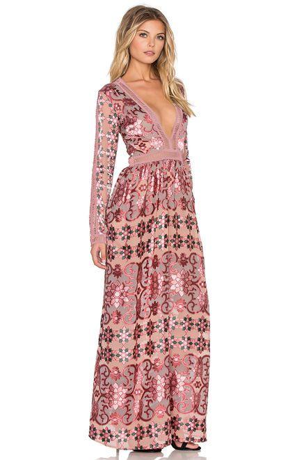 For Love & Lemons Juliet Maxi Dress en Granate   REVOLVE